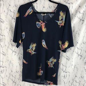 Anthropologie Deletta Polyester Bird Print Top